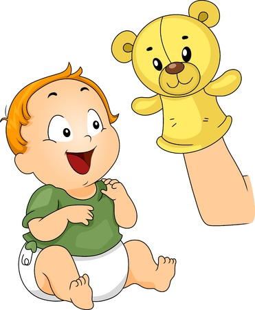 Illustration of a Baby Being Entertained with a Sock Puppet illustration