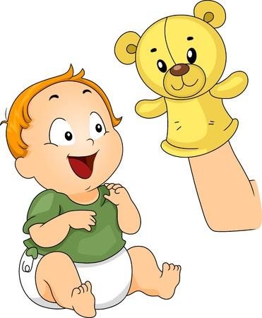 marioneta: Ilustración de un bebé se entretiene con una marioneta del calcetín