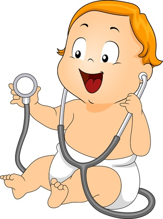 pediatrics: Illustration of a Baby Playing with a Stethoscope