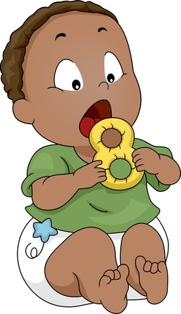 teether: Illustration of a Baby Putting a Teether into His Mouth