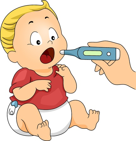 fiebre: Ilustraci�n de un beb� con su temperatura que se toma