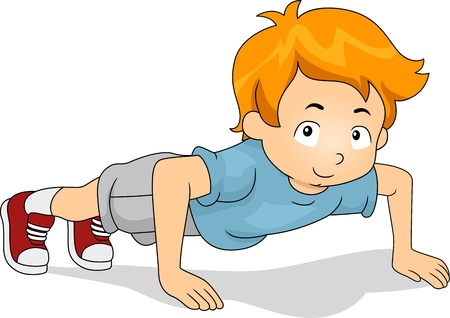 warm up: Illustration of a Kid Doing Pushups Stock Photo
