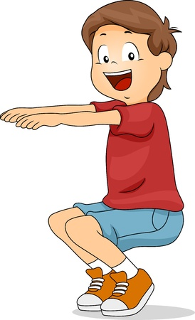 squatting: Ilustraci�n de un chico Eyacular Foto de archivo