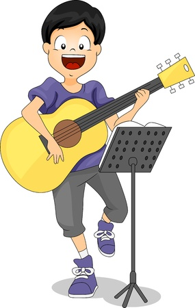 talent show: Illustration of a Kid Playing the Guitar Stock Photo