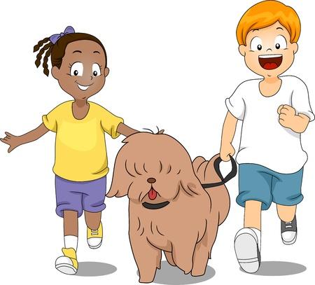 Illustration of Kids Taking Their Dog for a Run illustration
