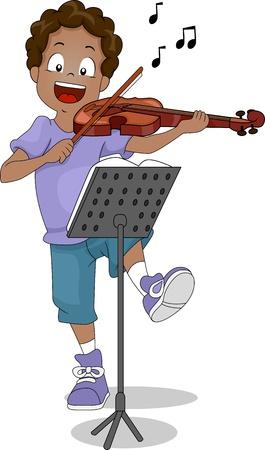 violines: Ilustraci�n de un chico que toca el viol�n Foto de archivo