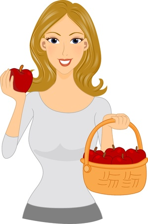 Illustration of a Girl Holding a Basket of Apples illustration