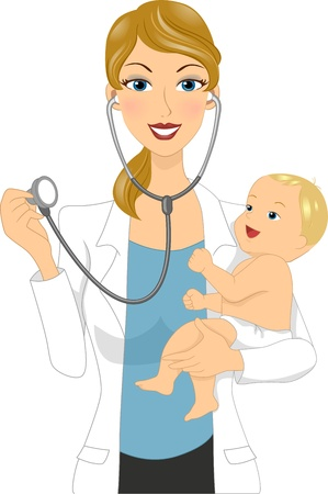 doctor cartoon: Illustration of a Doctor Examining a Baby Stock Photo