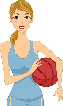 female athletes: Illustration of a Girl Holding a Basketball