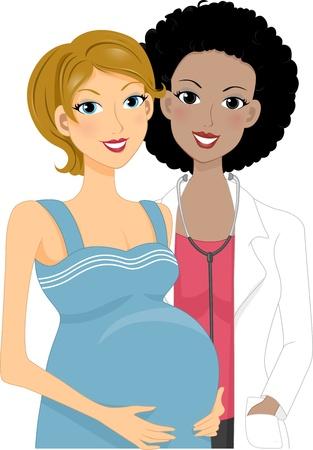 Ilustraci�n de una mujer embarazada tenga un control prenatal Foto de archivo - 11330157
