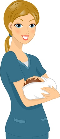 cradle: Illustration of a Nurse Holding a Baby
