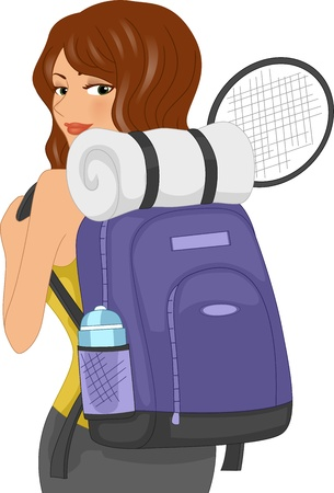 Illustration of a Girl Equipped with Sporting Bag, Water Bottle, Mat and Racket illustration