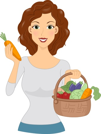 Illustration of a Girl Holding a Basket Full of Vegetables illustration