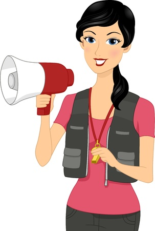 career coach: Illustration of a Coach Holding a Megaphone
