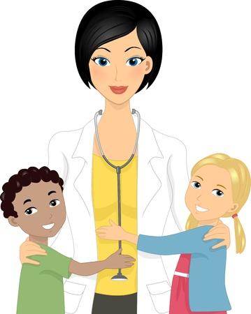 medico pediatra: Ilustraci�n de un doctor con los ni�os