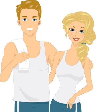Illustration of a Physically Fit Couple illustration