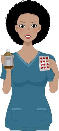 scrubs: Illustration of a Girl Holding Some Medicine
