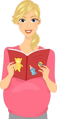 Illustration of a Pregnant Woman Reading a Baby Book illustration