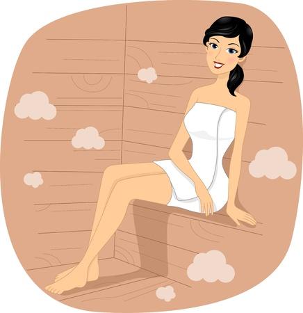 sauna: Illustration of a Girl in a Sauna Stock Photo