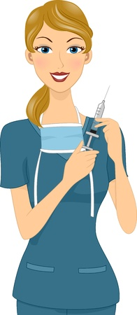 injecting: Illustration of a Girl Holding a Syringe Stock Photo
