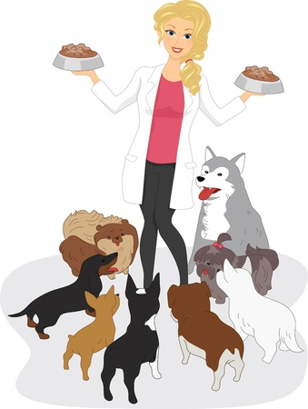 Illustration of a Vet Feeding Dogs