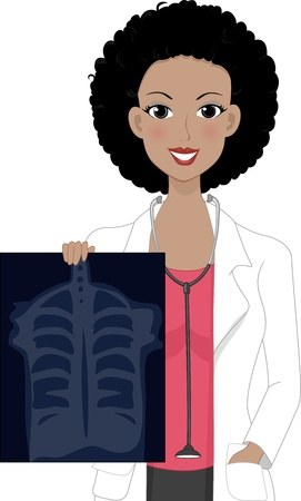 Illustration of a Girl Holding an X-ray Result illustration