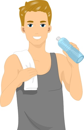 man drinking water: Illustration of a Man Drinking Bottled Water Stock Photo