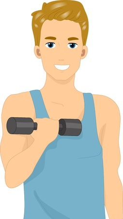 Illustration of a Man Lifting a Dumbbell illustration
