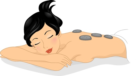 Illustration of a Girl Relaxing in a Spa illustration