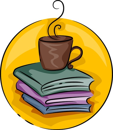 book shop: Icon Illustration of Coffee Table Books Stock Photo