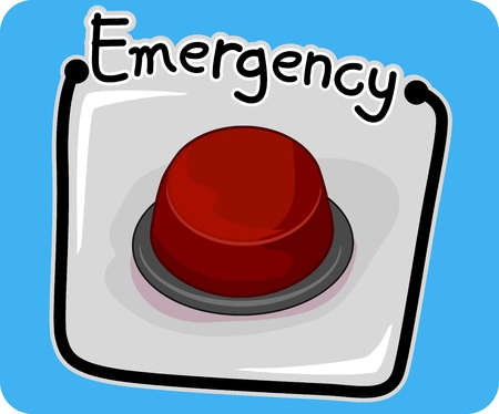 emergency call: Icon Illustration Featuring an Emergency Button