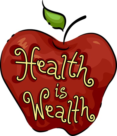 motto: Icon Illustration Representing Health is Wealth