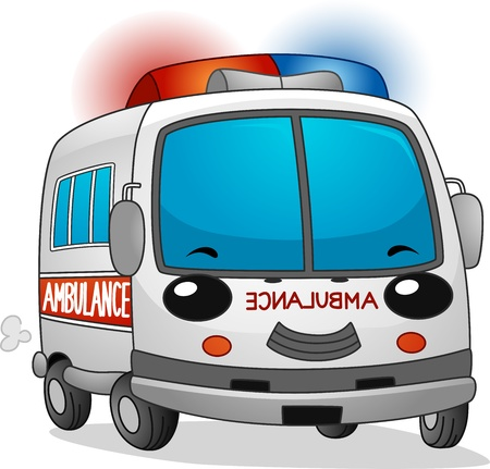 emergency response: Illustration of a Happy Ambulance with its Siren Blaring