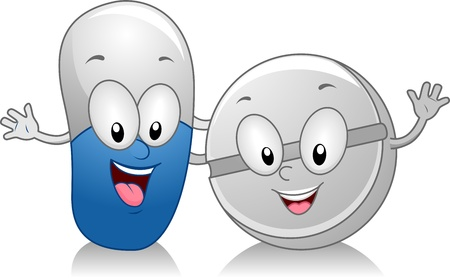 Illustration of Capsule and Tablet Standing Side by Side illustration