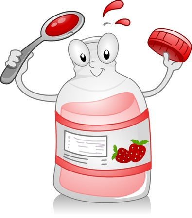 Illustration of a Syrup Bottle Holding a Spoon illustration