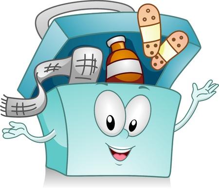 primeros auxilios: Ilustraci�n de un kit de Medicina feliz Foto de archivo