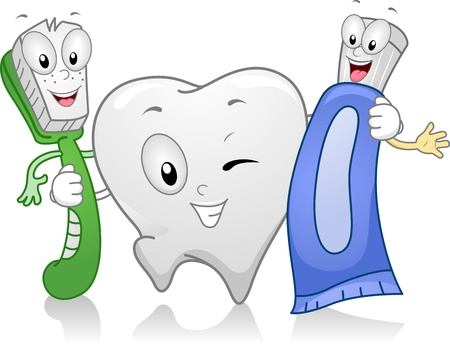 dientes caricatura: Ilustraci�n de Productos Dentales mantenernos unidos Foto de archivo