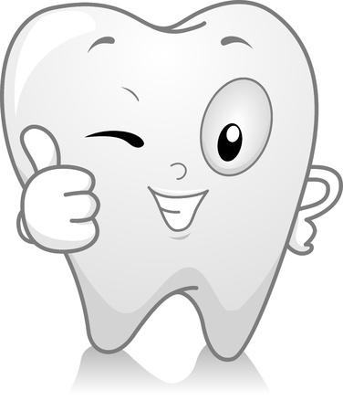 dientes caricatura: Ilustraci�n de un diente dando un pulgar hacia arriba Foto de archivo