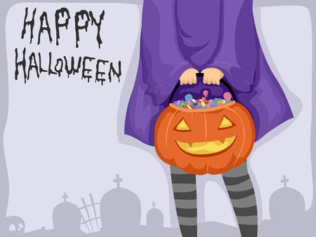 trick or treat: Background Illustration Featuring a Girl Carrying a Basket of Candies