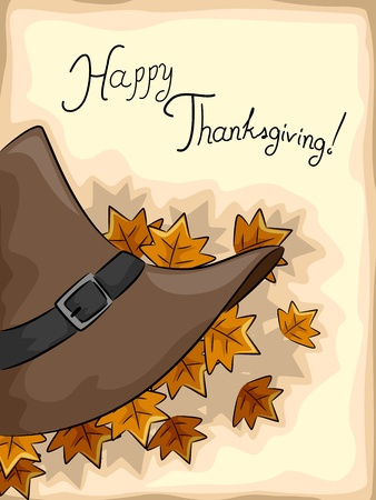 pilgrims: Illustration of a Pilgrim Hat with Thanksgiving Greetings