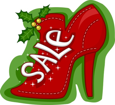 Illustration of a Shoe Marked with Sale illustration