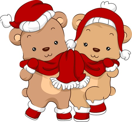 Illustration of a Cute Pair of Bears Wearing Christmas Costumes illustration