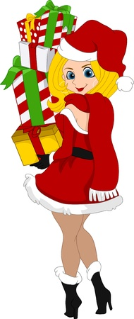 Illustration of a Pinup Girl Carrying a Stack of Gifts Stock Illustration - 11378238