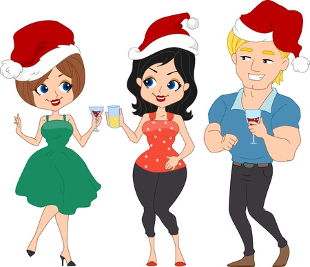 christmas party people: Illustration of a Christmas Party with a Pinup Theme Stock Photo