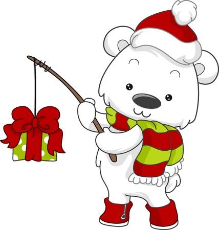 Illustration of a Polar Bear Fishing for Gifts illustration