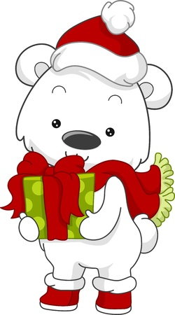 Illustration of a Polar Bear Holding a Gift illustration