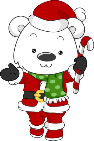yule: Illustration of a Polar Bear Dressed as Santa Claus Stock Photo