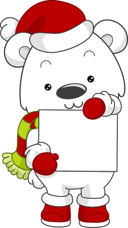 Illustration of a Polar Bear Holding a Blank Board illustration