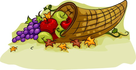 apples basket: Illustration of a Cornucopia Basket for Thanksgiving Stock Photo