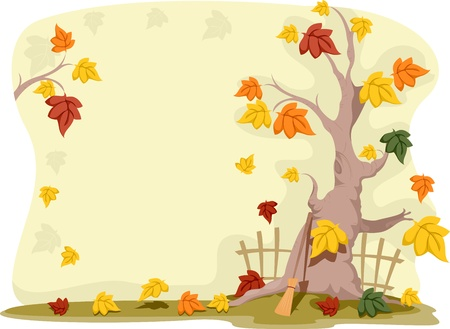 broomstick: Background Illustration with an Autumn Theme Stock Photo